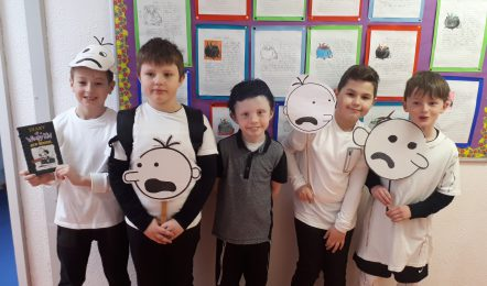 pic 5 Patrick Zwierczyk, Bartosz Ziach, Alex Doyle, Patrick Connelly, Christopher Holmes (Ballygar NS) dressed up as Diary of a Wimpy Kid Characters